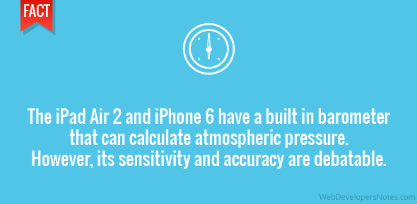 The iPad Air 2 and iPhone 6 have a built in barometer that can calculate atmospheric pressure. However, its sensitivity and accuracy are debatable.