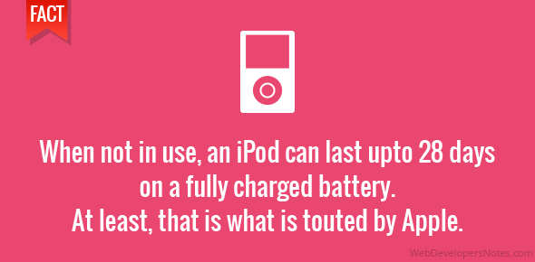 When not in use, an iPod can last upto 28 days on a fully charged battery. At least, that is what is touted by Apple.