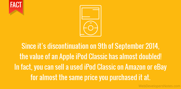 Since it's discontinuation on 9th of September 2014, the value of an Apple iPod Classic has almost doubled! in fact, you can sell a used iPod Classic on Amazon or eBay for almost the same price you purchased it at.