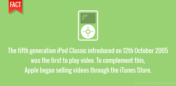 The fifth generation iPod Classic introduced on 12th October 2005 was the first to play video. To complement this, Apple began selling videos through the iTunes Store.