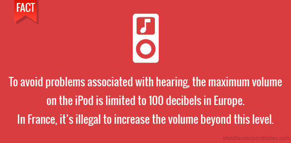 To avoid problems associated with hearing, the maximum volume on the iPod is limited to 100 decibels in Europe. In fact, in France, it's illegal to increase the volume beyond this level.