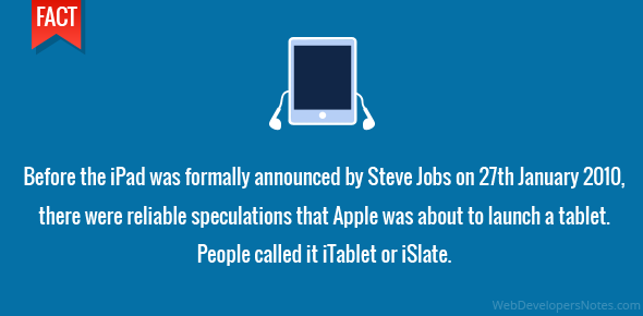 Before the iPad was formally announced by Steve Jobs on 27th January 2010, there were reliable speculations that Apple was about to launch a tablet. People called it iTablet or iSlate.