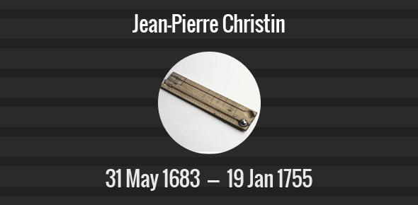 Jean-Pierre Christin Death Anniversary - 19 January 1755