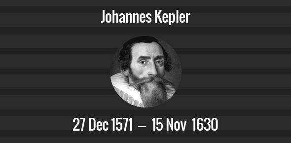 Johannes Kepler Death Anniversary - 15 November 1630