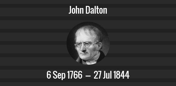 John Dalton Death Anniversary - 27 July, 1844