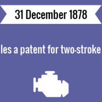 Karl Benz files a patent for two-stroke gas engine.