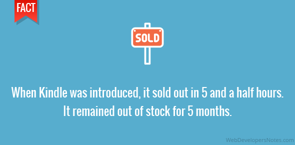 When Kindle was introduced, it sold out in 5 and a half hours. It remained out of stock for 5 months.