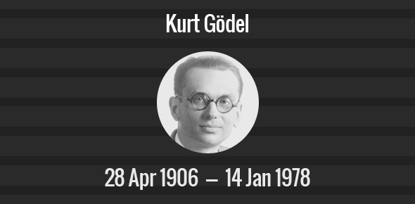 Kurt Gödel Death Anniversary - 14 January 1978