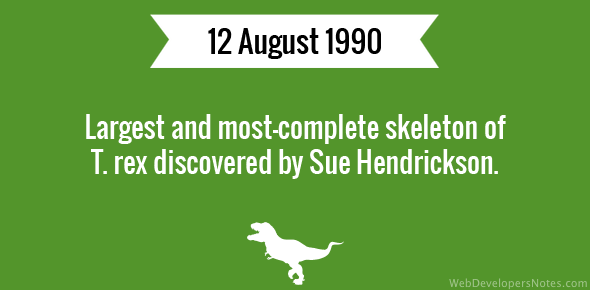 Largest and most-complete skeleton of T. rex discovered by Sue Hendrickson.