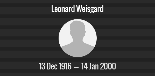 Leonard Weisgard Death Anniversary - 14 January 2000