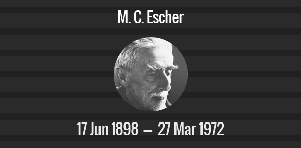 M. C. Escher Death Anniversary - 27 March 1972