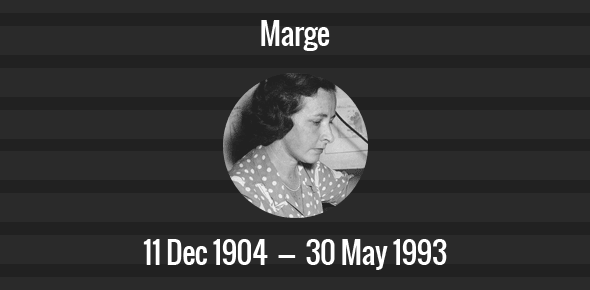 Marge Death Anniversary - 30 May 1993