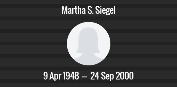 Martha S. Siegel Death Anniversary - 24 September 2000