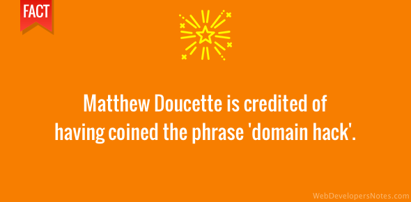 Matthew Doucette coined the term 'domain hack'