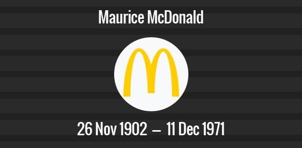 Maurice McDonald Death Anniversary - 11 December 1971