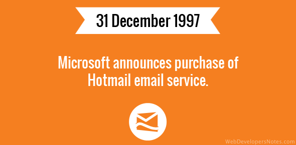 Microsoft announces purchase of Hotmail email service.