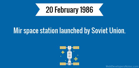 Mir space station launched by Soviet Union.