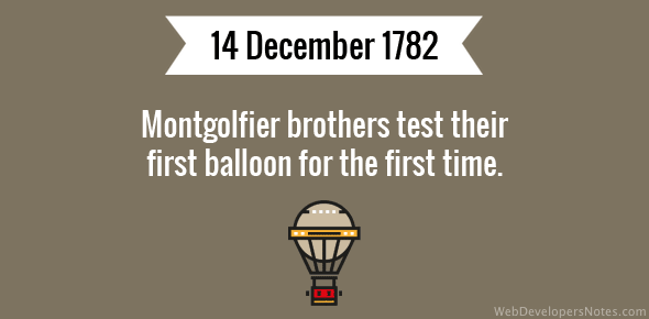 Montgolfier brothers test their first balloon for the first time.