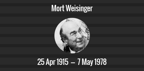 Mort Weisinger Death Anniversary - 7 May 1978