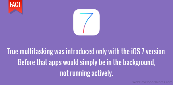 True multitasking was introduced only with the iOS 7 version. Before that apps would simply be in the background, not running actively.
