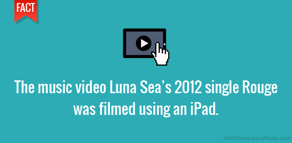 The music video Luna Sea's 2012 single Rouge was filmed using an iPad.