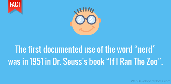 "The first documented use of the word ""nerd"" was in 1951 in Dr. Seuss's book ""If I Ran The Zoo""."