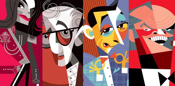 Pablo Lobato's illustration of popular celebrities
