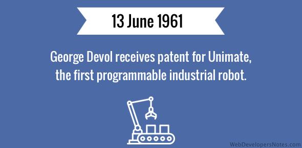 Patent received for the first programmable industrial robot