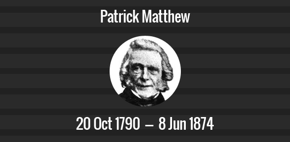 Patrick Matthew Death Anniversary - 8 June 1874