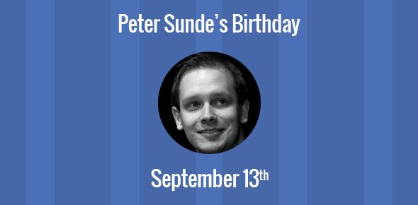 Peter Sunde Birthday - 13 September 1978
