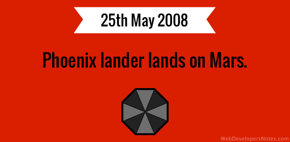 Phoenix lander lands on Mars