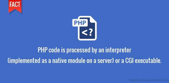 PHP code is processed by an interpreter (implemented as a native module on a server) or a CGI executable.