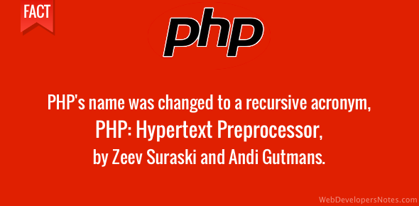 PHP name changed to recursive acronym