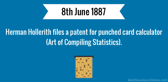 Herman Hollerith files a patent for punched card calculator (Art of Compiling Statistics).