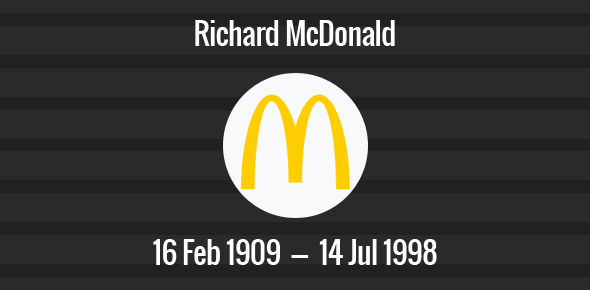 Richard McDonald Death Anniversary - 14 Jul, 1998