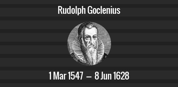 Rudolph Goclenius Death Anniversary - 8 June 1628