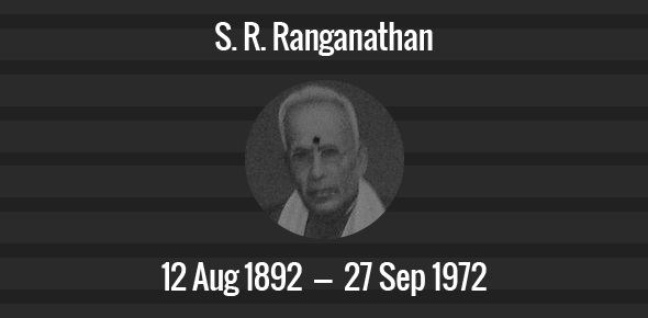 S. R. Ranganathan Death Anniversary - 27 September 1972