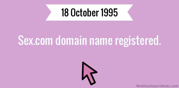 Sex.com domain name registered