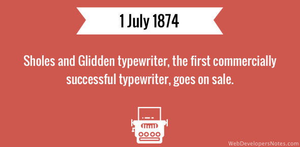 Sholes and Glidden typewriter goes on sale
