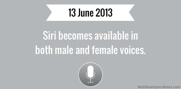 Siri becomes available in both male and female voices.