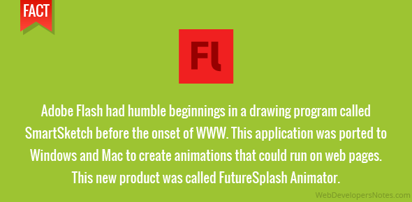 Adobe Flash had humble beginnings in a drawing program called SmartSketch before the onset of WWW. This application was ported to Windows and Mac to create animations that could run on web pages. This new product was called FutureSplash Animator.