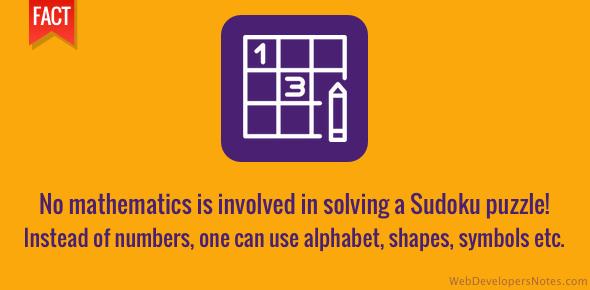 Solving the Sudoku requires no mathematics