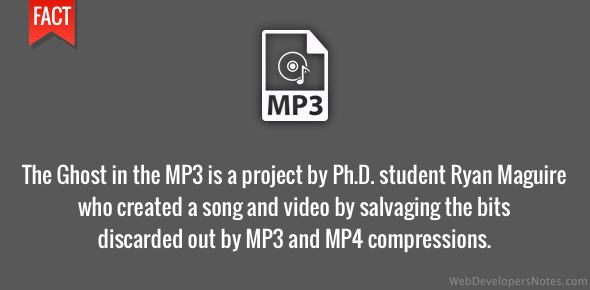 The Ghost in the MP3 is a project by Ph.D. student Ryan Maguire who created a song and video by salvaging the bits thrown out by MP3 and MP4 compressions.