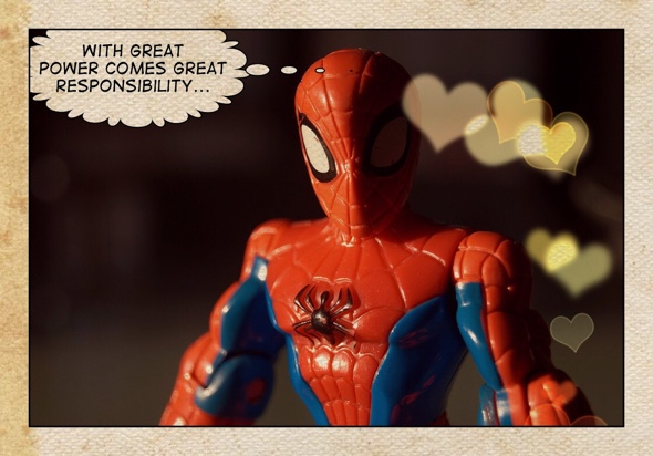 Spider-man remembering Uncle Ben's advice
