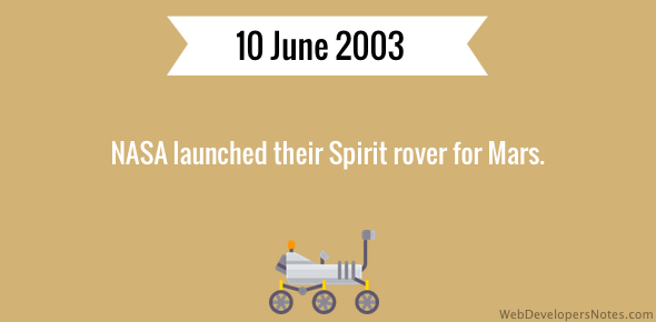 NASA launched their Spirit rover for Mars