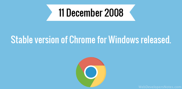 Stable version of Chrome for Windows released.