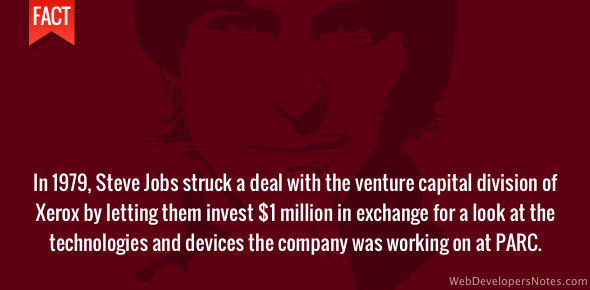 Steve Jobs got $1 million funding from Xerox
