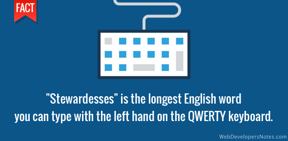 Stewardesses - Longest English word typed on QWERTY keyboard using only the left hand