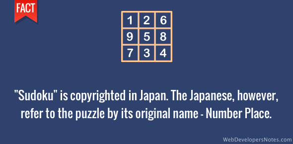 Sudoku name is copyrighted in Japan