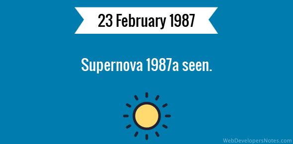 Supernova 1987a seen.